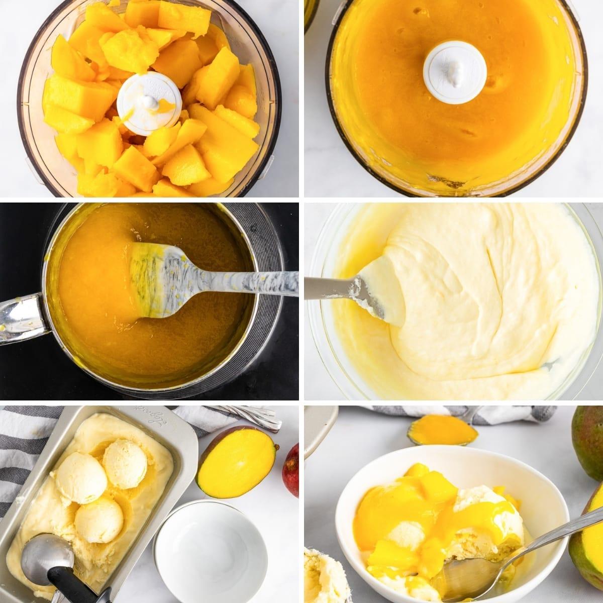 how to make vegan mango ice cream collage