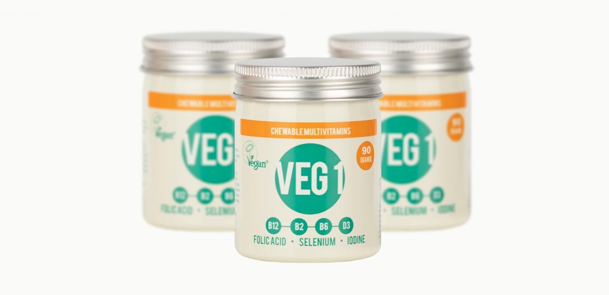 Three tins of VEG 1 vegan multivitamin supplement that includes iodine