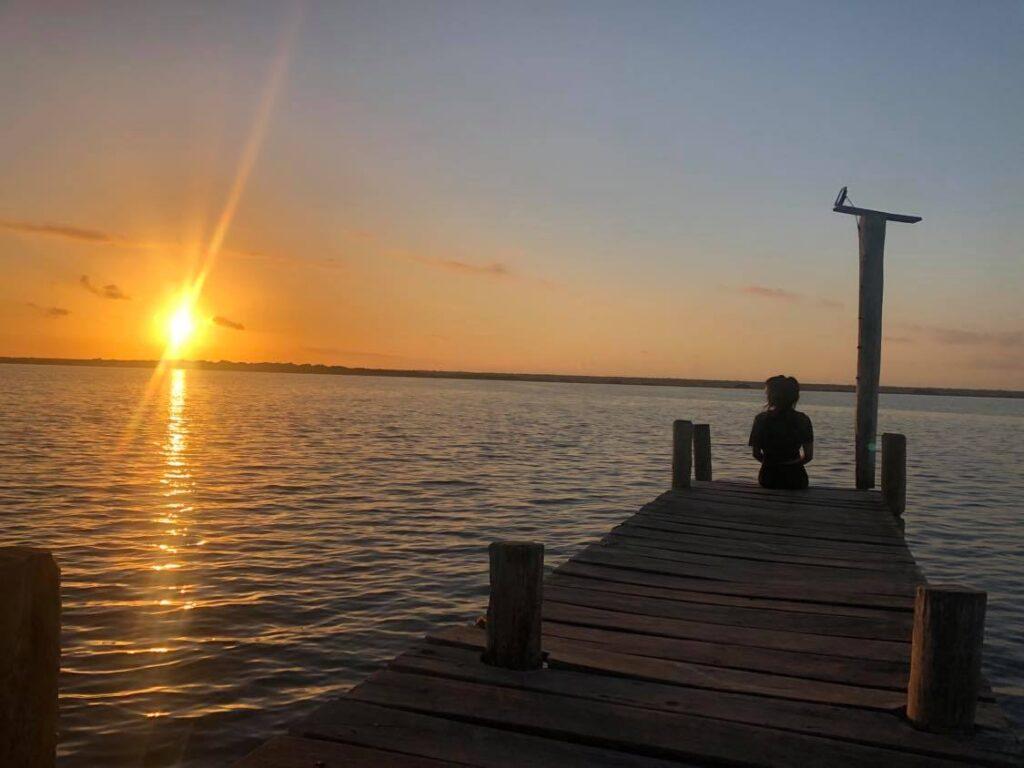 sunrise on lake bacalar
