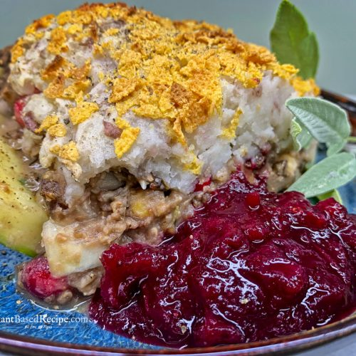 Vegan Holiday Zucchini boat recipe with potato and cranberries (Oil free)