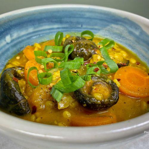 Turmeric and Garlic flavored Mushroom Barley stew recipe
