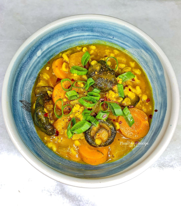 Vegan Mushroom Barley stew in a bowl