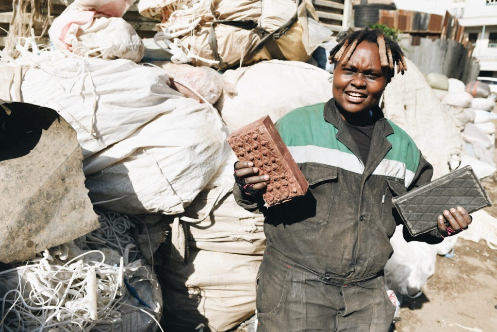 Photo shows Nzambi Matee, the founder of Gjenge Makers Ltd., who has come up with some innovative plastic pollution solutions.