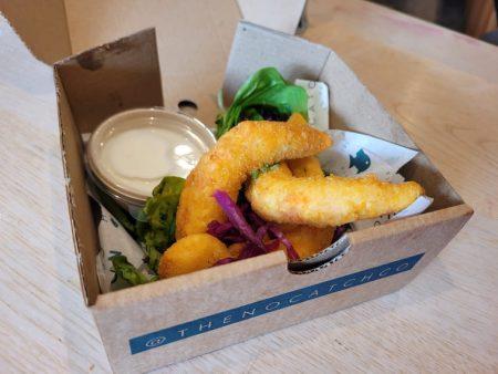 Box of vegan prawns