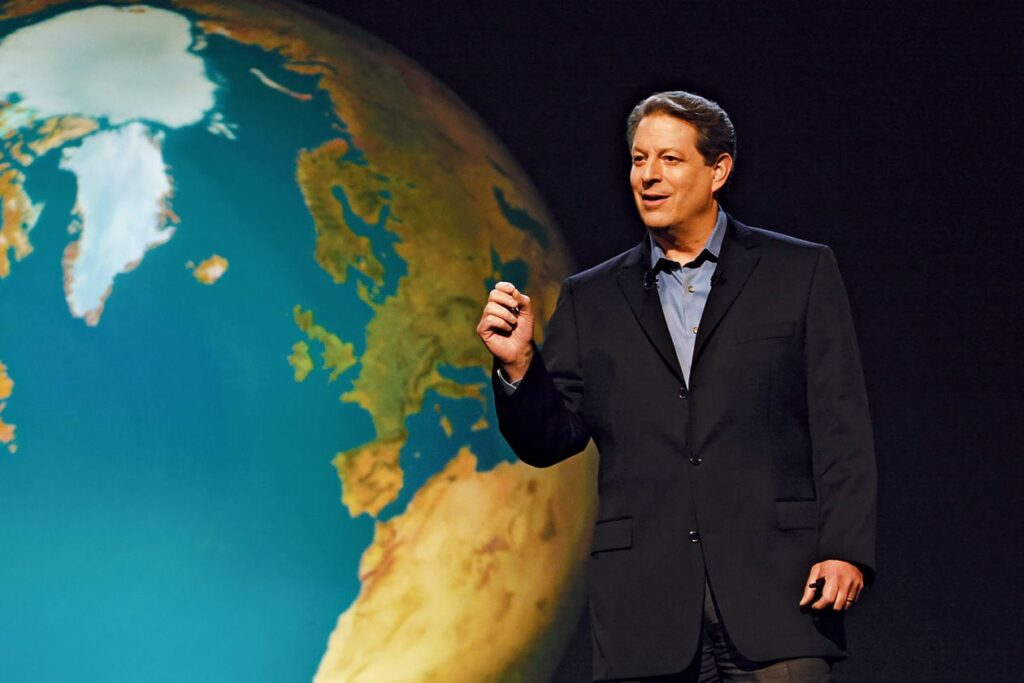 Image of Al Gore against a background showing planet Earth.