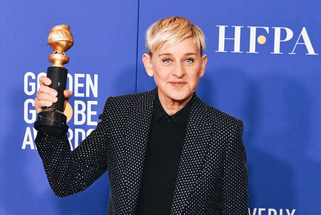 Photo showing Ellen DeGeneres holding a Golden Globe.